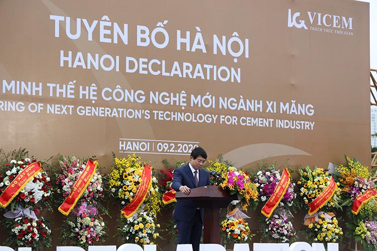 Ông Bùi Hồng Minh – Chủ tịch HĐTV, Tổng Giám đốc VICEM phát biểu tại Lễ tuyên bố