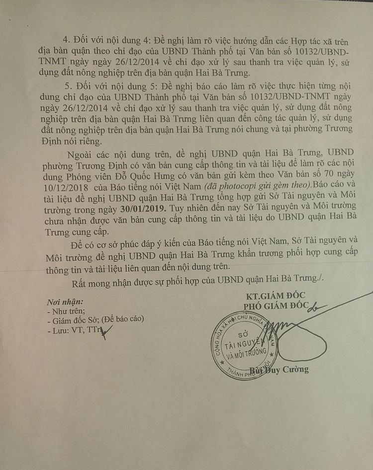 Văn bản của Sở TNMT đôn đốc Quận Hai Bà Trưng làm rõ vấn đề Báo TNVN đã nêu (2)