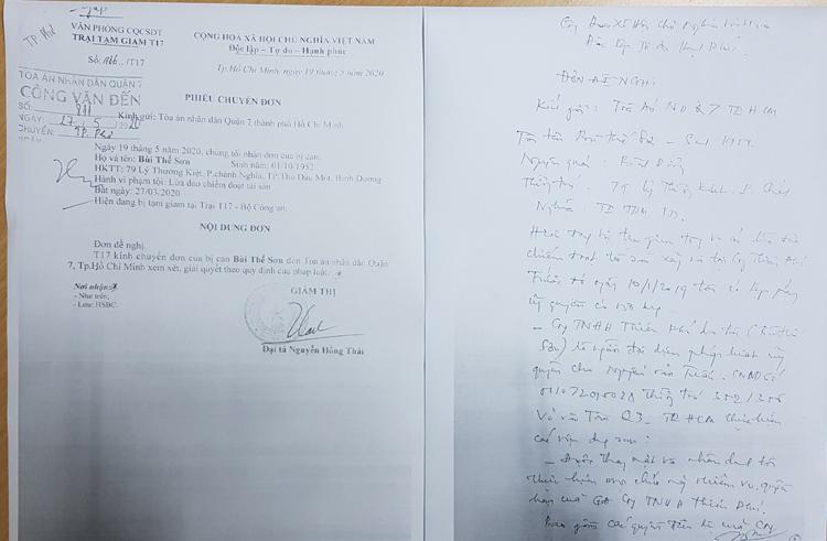Ngày 15/9/2020, ông Sơn có Đơn đề nghị gửi Tòa Q7  bốn nội dung