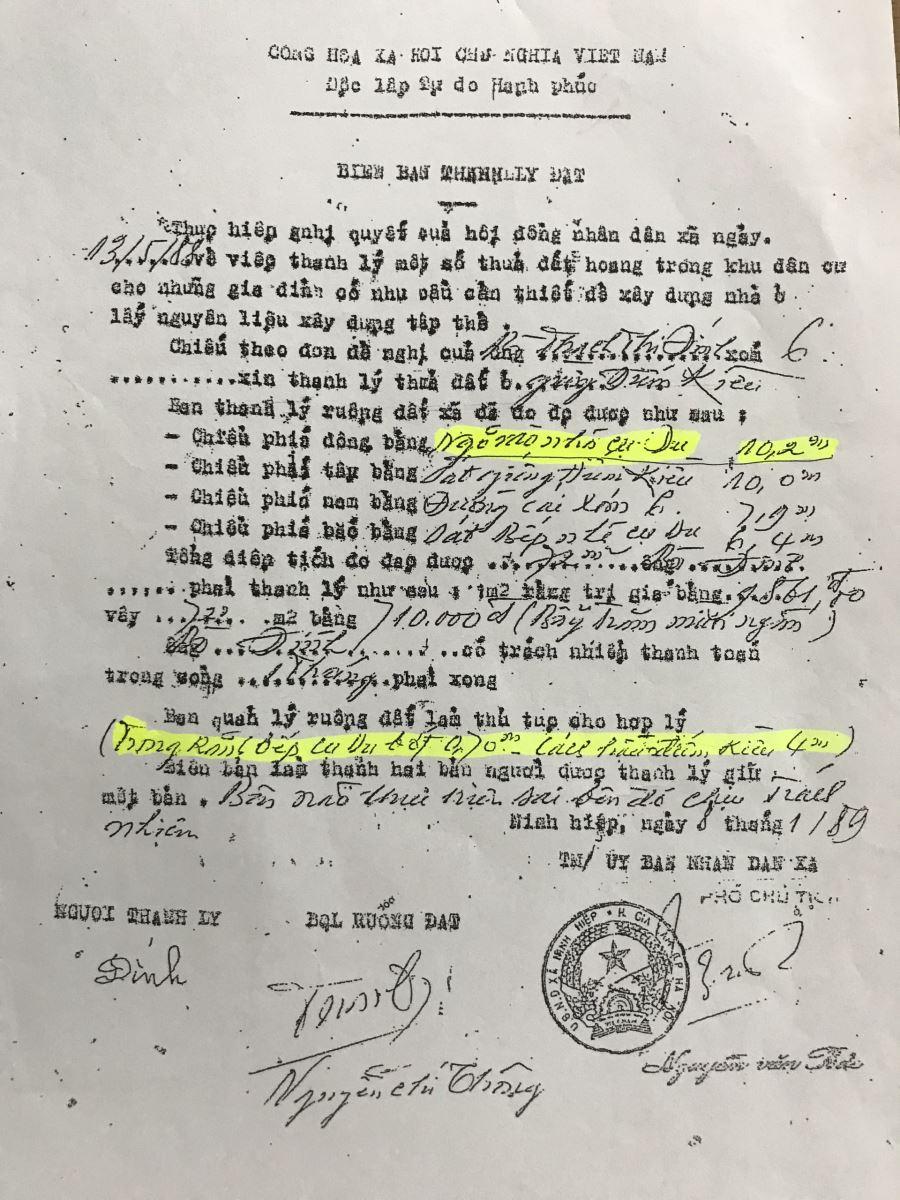 Bản thanh lý đất cho bà Thạch Thị Đính, chứ không phải cấp cho bà Nguyễn Thị Đính như kết luận nêu. Và trong Bản thanh lý này không hề nêu Ngõ nhà ông Tiệm là ngõ đi chung - là đất công.