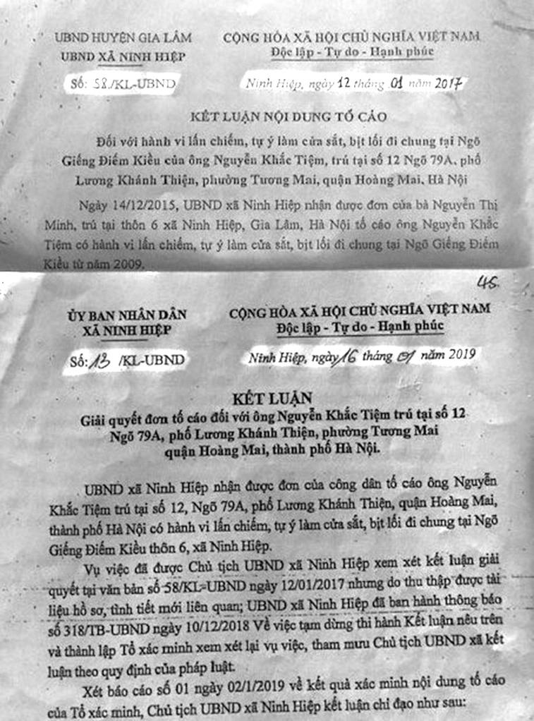 Hai bản Kết luận trái ngược nhau về cùng một nội dung vụ việc, do cùng một ông Chủ tịch xã Ninh Hiệp - Nguyễn Văn Tuấn ký.