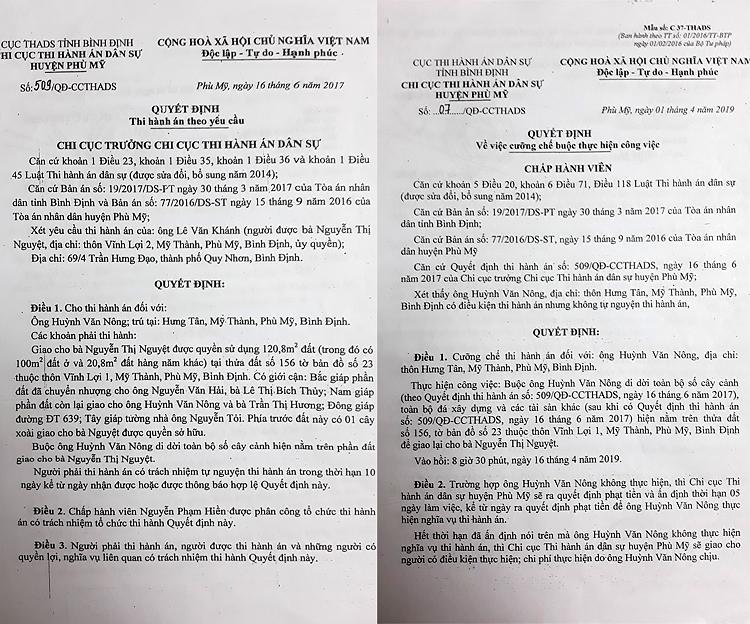 Quyết định thi hành án và Quyết định cưỡng chế thi hành án đối với ông Huỳnh Văn Nông theo phán quyết tại bản án số 19/2017/DS-PT