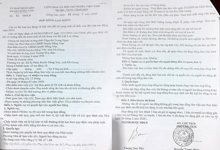 Hợp đồng lao động kỳ lạ mà ông Nguyễn Trung Ngọc, Phó Chủ tịch UBND huyện Đồng Văn ký với ông Vương Duy Bảo, chủ sở hữu khu di tích họ Vương.