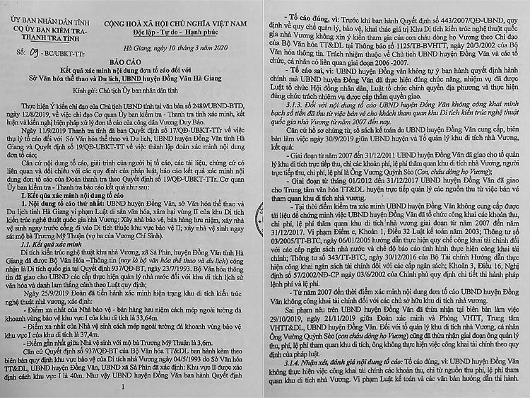Báo cáo kết luận thanh tra số 09-BC/UBKT-TTr nêu rõ những sai phạm liên quan đến di tích quốc gia Dinh thự họ Vương