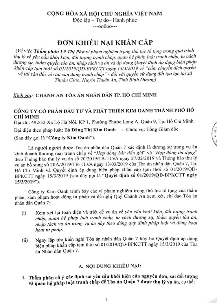 Công ty Kim Oanh có đơn khiếu nại khẩn cấp gửi Chánh án TAND TP. Hồ Chí Minh.