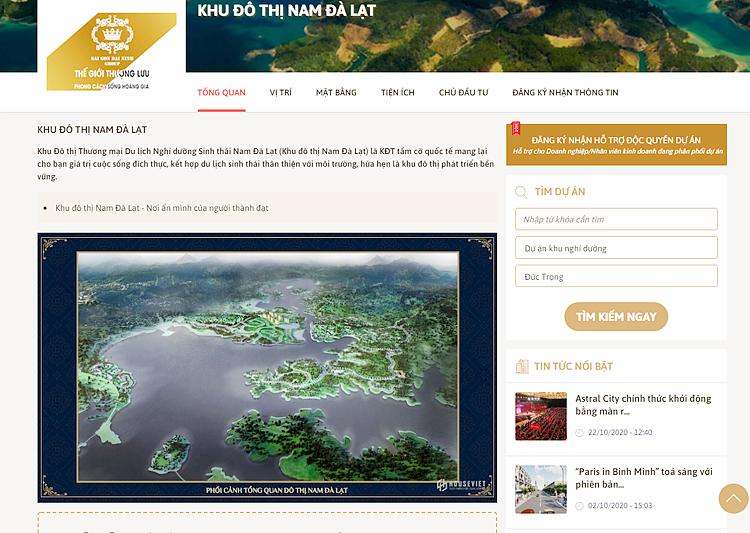 Dù có nhũng sai phạm, nhưng trên trang web, dự án Khu đô thị thương mại, du lịch nghỉ dưỡng sinh thái Đại Ninh được quảng cáo rầm rộ là Khu đô thị tầm cỡ quốc tế.