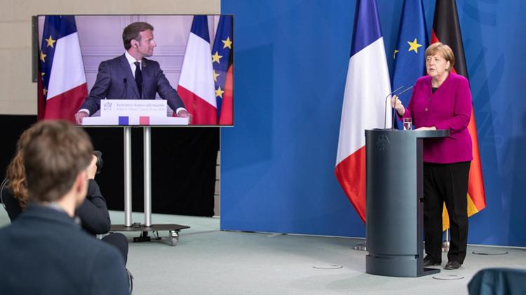 Kết quả cuộc trao đổi trực tuyến mới đây giữa ông Macron và bà Merkel  là sự nhất trí khắc phục hậu quả dịch bệnh. (ẢNh: KT)