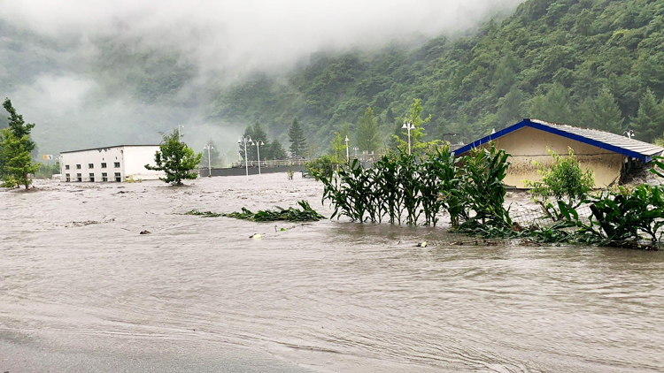 Lũ lớn tại Khu bảo tồn thiên nhiên Ngọa Long, tỉnh Tứ Xuyên (Ảnh: Chinanews)