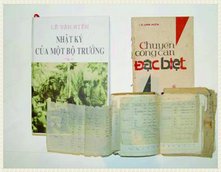 """Tác phẩm """"Nhật ký của một Bộ trưởng"""" và """"Chuyến công cán đặc biệt"""" được Bộ trưởng Lê Văn Hiến viết trong thời kỳ kháng chiến (ảnh tư liệu)"""