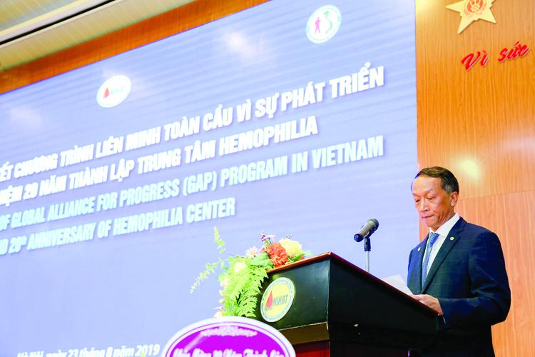 TS. Bạch Quốc Khánh, Viện trưởng Viện Huyết học - Truyền máu Trung ương, Chủ tịch Hội Rối loạn Đông máu Việt Nam phát biểu.