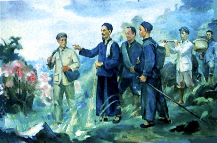 Bác Hồ về Pác Bó, Cao Bằng (ngày 28/1/1941). Tranh: Trịnh Phòng