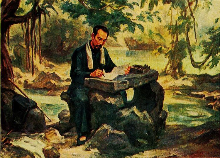 """""""Bác Hồ làm việc ở Pác bó"""" (1941). Tranh: Trịnh Phòng"""