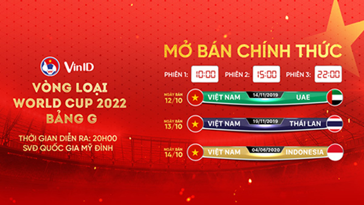 Trận Việt Nam - Indonesia diễn ra trên sân Mỹ Đình vào lúc 20h ngày 4/6/2020 mở bán qua ứng dụng VinID (ảnh: KT)