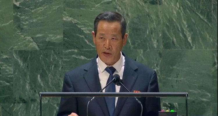 Đại sứ Triều Tiên Kim Song phát biểu tại phiên họp của Đại hội đồng Liên Hợp Quốc ngày 27/9. (Ảnh: Yonhap).