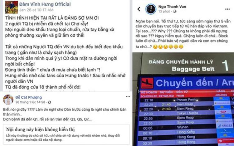 Nghệ sỹ Đàm Vĩnh Hưng, Cát Phượng, Ngô Thanh Vân đưa thông tin sai lệch về dịch bệnh Corona lên tài khoản facebook cá nhân. (Ảnh chụp màn hình facebook cá nhân).