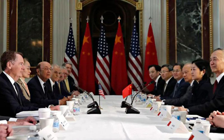 Đại diện Mỹ - Trung tại một cuộc đàm phán thương mại. (Ảnh: Reuters)
