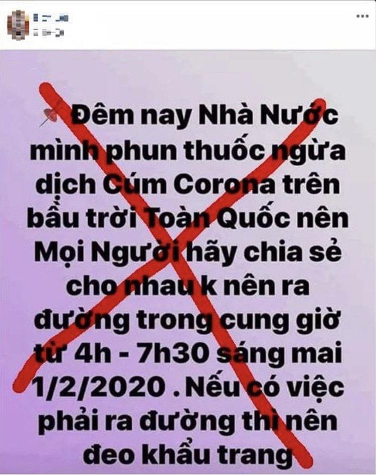 Trang Facebook cá nhân tên là Nguyễn Mai N, trú xã Hiền Ninh, huyện Quảng Ninh, tỉnh Quảng Bình đưa thông tin bịa đặt phun thuốc ngừa dịch corona trên toàn quốc.