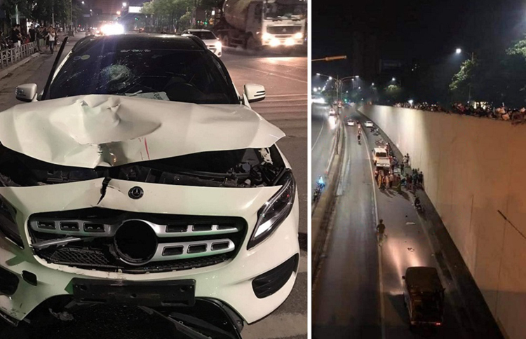 0h10 ngày 1/5, sau khi uống say, tài xế Lê Trung Hiếu lái Mercedes tông chết 2 người phụ nữ đi xe máy ở hầm chui Kim Liên (Hà Nội).