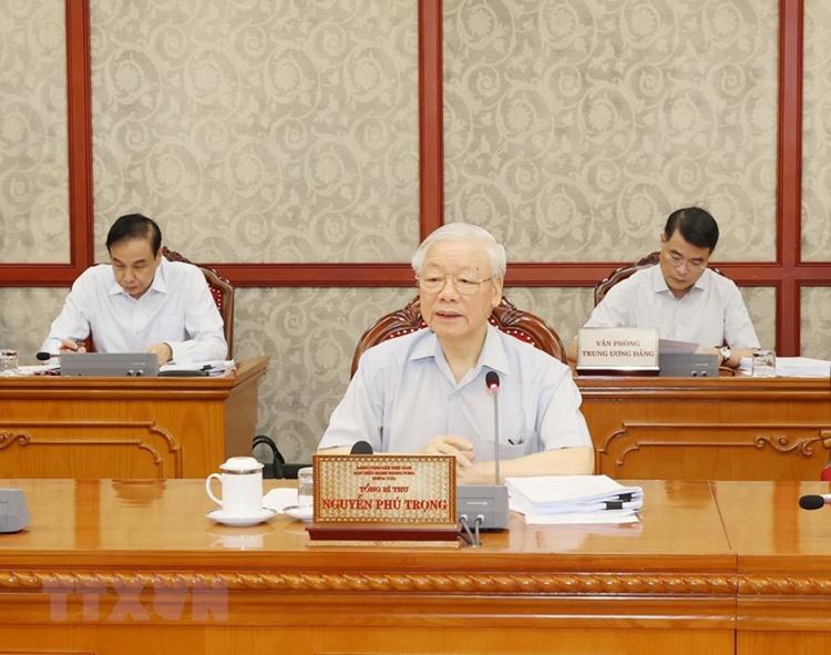 Tổng Bí thư Nguyễn Phú Trọng chủ trì cuộc họp của Bộ Chính trị. (Ảnh: TTXVN)