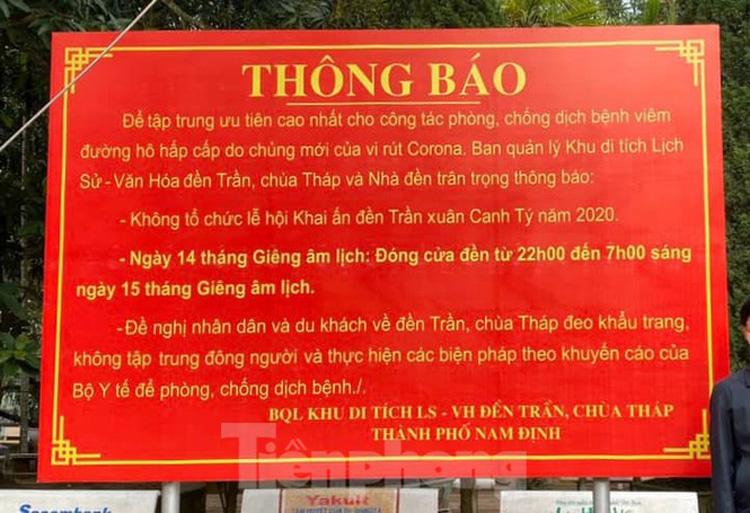 Đền Trần Nam Định thông báo sẽ đóng cửa đền hết đêm khai ấn và dừng phát ấn - Ảnh: Hoàng Long