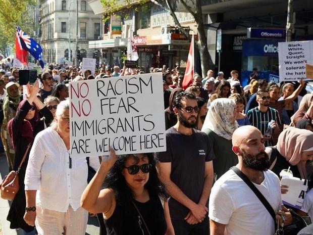 Mít-tinh tại thành phố Melbourne nhằm phản đối chủ nghĩa bài Hồi giáo.