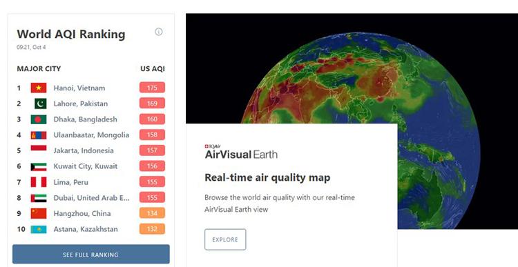 Vị trí xếp hạng về ô nhiễm không khí của Hà Nội trên Air Visual.