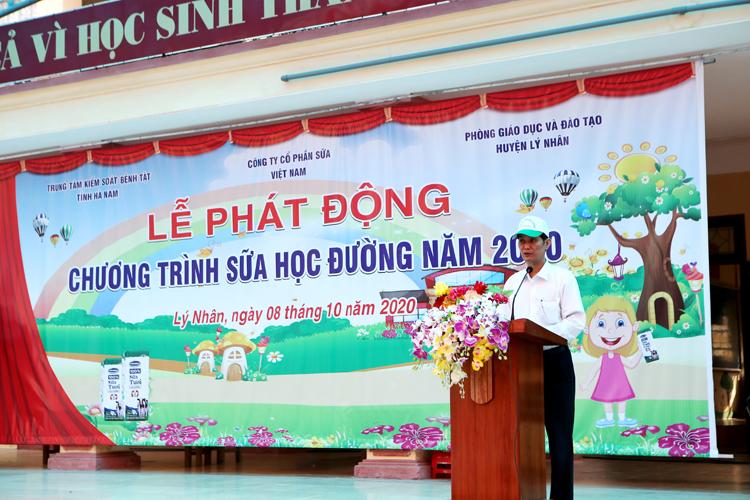 Ông Lương Mạnh Đoàn - Trưởng phòng Y tế huyện Lý Nhân chia sẻ tại lễ phát động.