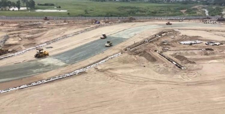 Một góc đường đua F1 Hà Nội đang dần thành hình. (Ảnh: Minh Sơn/Vietnam+)