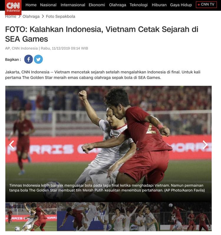 Truyền thông Indonesia có những phản ứng trái chiều sau trận thua 0-3 của ĐT U22 Indonesia trước U22 Việt Nam. (Ảnh: CNN)