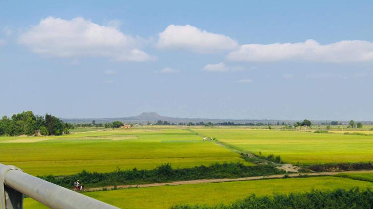 Đồng lúa bên sông Krong Ana (Đắk Lắk), phía xa là núi lửa Chư Bluk (Đắk Nông), bên dòng Krông Nô.
