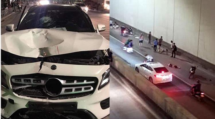 Hiện trường vụ xe Mercedes đâm 2 phụ nữ tử vong tại hầm chui Kim Liên ngày 1/5 vừa qua.