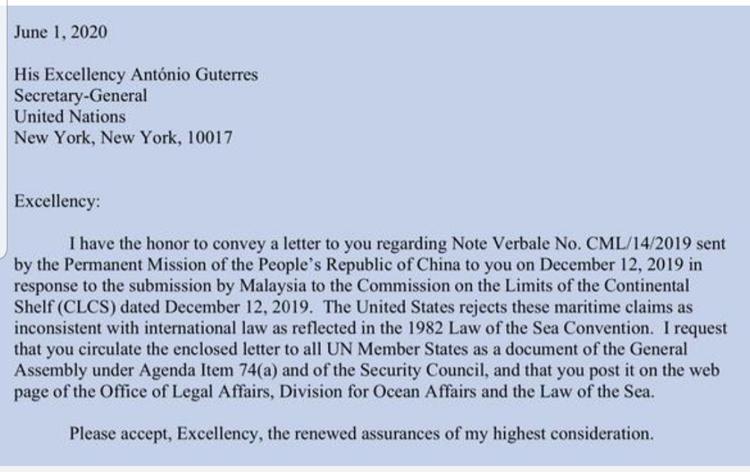 Công hàm Mỹ gửi lên LHQ để phản đối tuyên bố chủ quyền của Trung Quốc đối với Biển Đông. (Ảnh chụp màn hình).