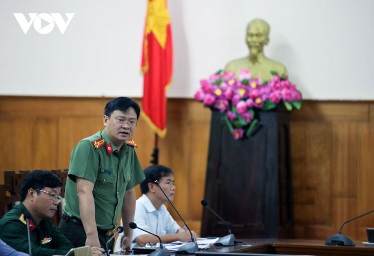 Thượng tá Nguyễn Thanh Tuấn - Giám đốc Công an tỉnh Thừa Thiên Huế đề nghị huy động các lưc lượng nhanh chóng tiếp cận hiện trường Thủy điện Rào Trăng 3.